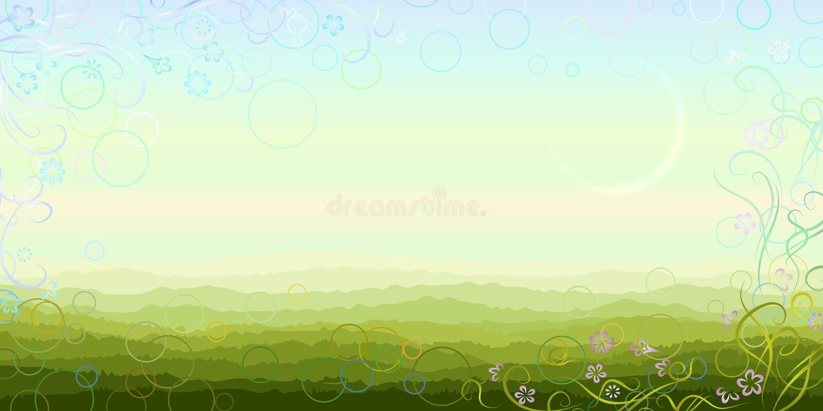 Panoramic summer morning scenery. Made in light pastel colors with aerial perspective and floral border (other landscapes are in my gallery vector illustration