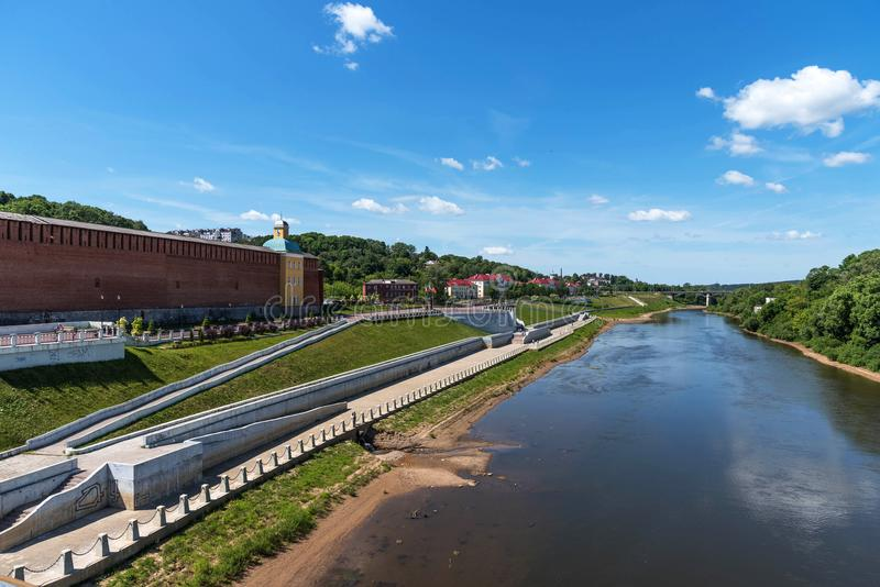 Panoramic summer view of the embankment of the Dnieper River in Smolensk, Russia. Monument to Prince Vladimir. Fortress wall stock images