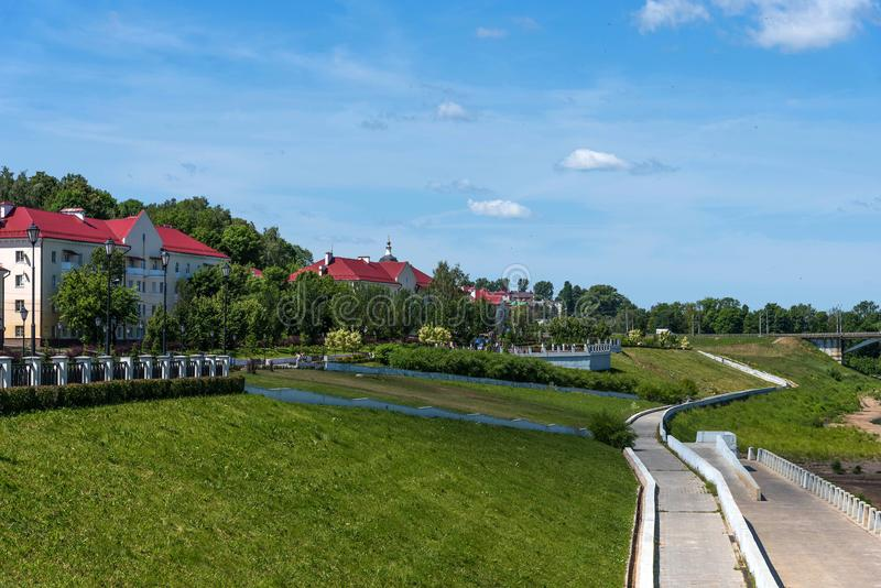 Panoramic summer view of the embankment of the Dnieper River in Smolensk, Russia. Monument to Prince Vladimir. Fortress wall royalty free stock image
