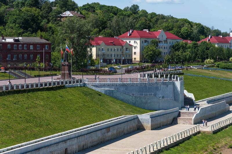 Panoramic summer view of the embankment of the Dnieper River in Smolensk, Russia. Monument to Prince Vladimir stock photos
