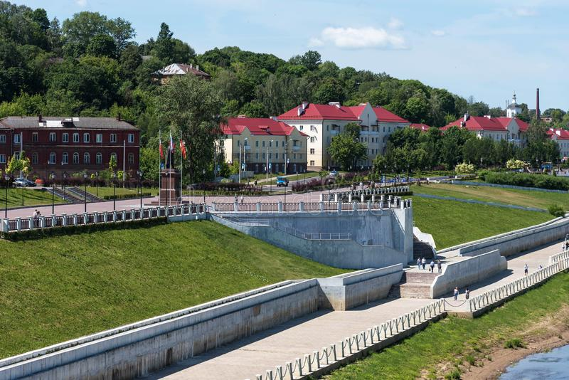 Panoramic summer view of the embankment of the Dnieper River in Smolensk, Russia. Monument to Prince Vladimir stock image