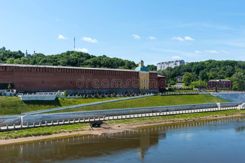 Panoramic summer view of the embankment of the Dnieper River in Smolensk, Russia. Monument to Prince Vladimir. Fortress wall royalty free stock images
