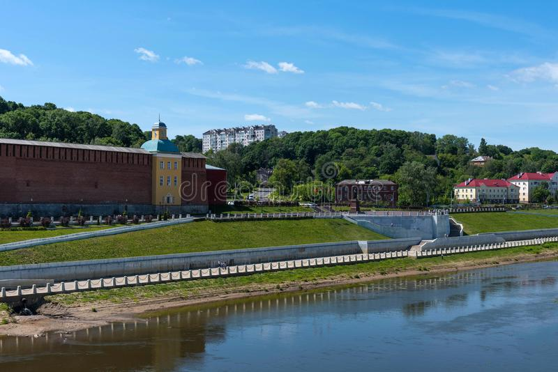Panoramic summer view of the embankment of the Dnieper River in Smolensk, Russia. Monument to Prince Vladimir. Fortress wall royalty free stock photos