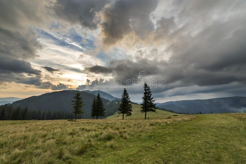Panoramic summer view, green grassy valley on distant woody mountains background under cloudy sky royalty free stock photography