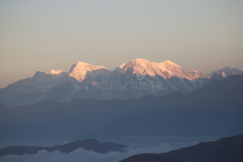 Himalaya Sunrise mountain range in nepal stock photography