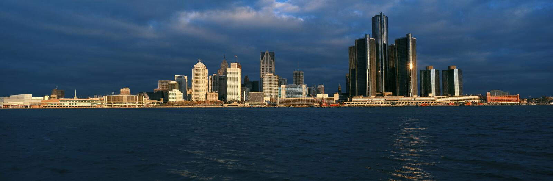 Panoramic sunrise view of Renaissance Center, Detroit, MI royalty free stock images