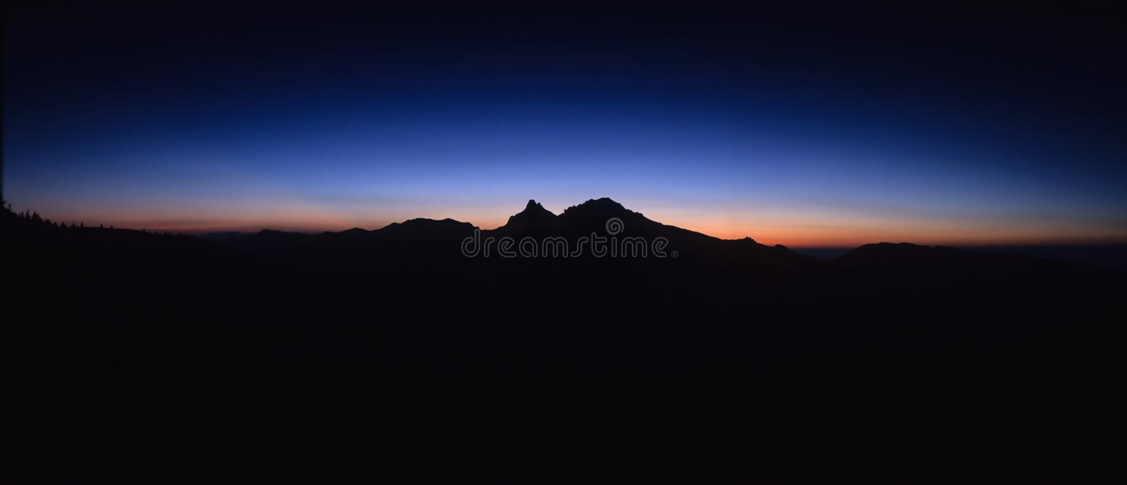 Panoramic sunset. Sunset over Ciucas Mountains, Eastern Carpathians, Romania stock photos