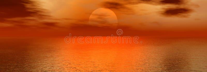 Panoramic sunset. On the sea background image stock illustration