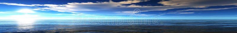 Panoramic sunset sea landscape stock photography