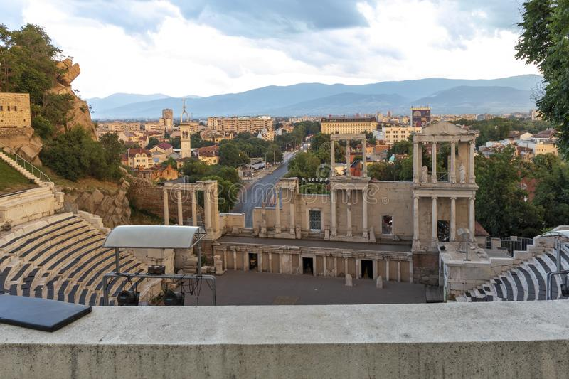 Panoramic sunset view of Ancient Roman theatre of Philippopolis in city of Plovdiv, Bulgaria royalty free stock image