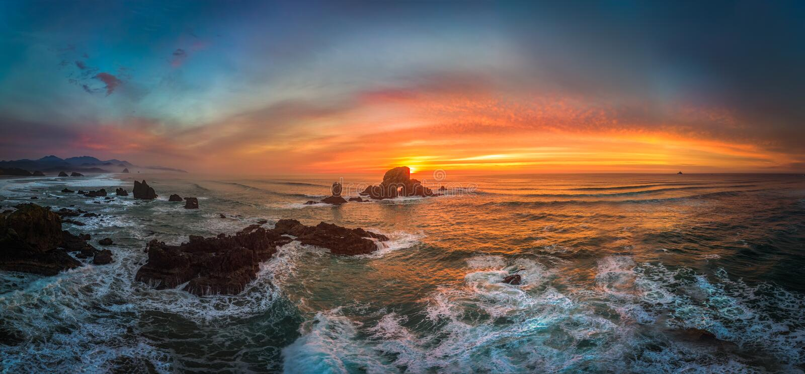 Ecola winter sunset. This is a panoramic sunset view of Ecola state park stock photography