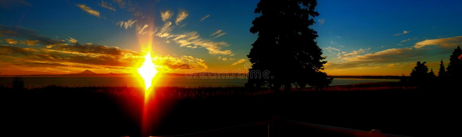 A panoramic sunset view from my porch royalty free stock photos