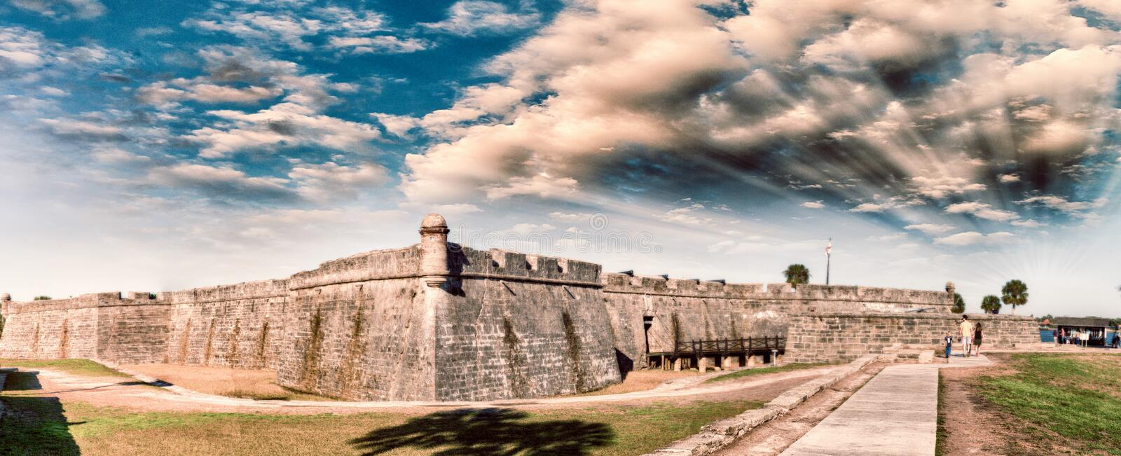 Panoramic sunset view of St Augustine medieval castle.  royalty free stock photo