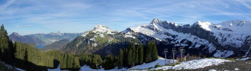 Panoramic Swiss mountains stock photography