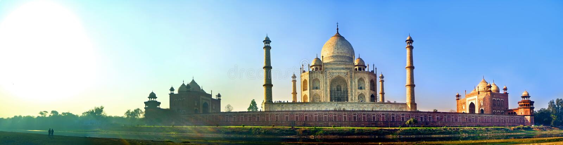 Panoramic of Taj Mahal Agra. India stock photos