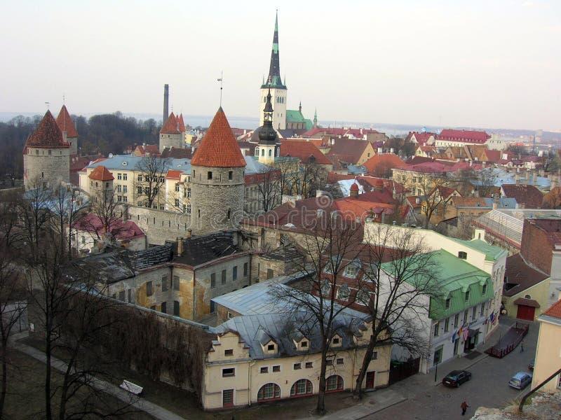 Panoramic Tallinn Oldtown Royalty Free Stock Images