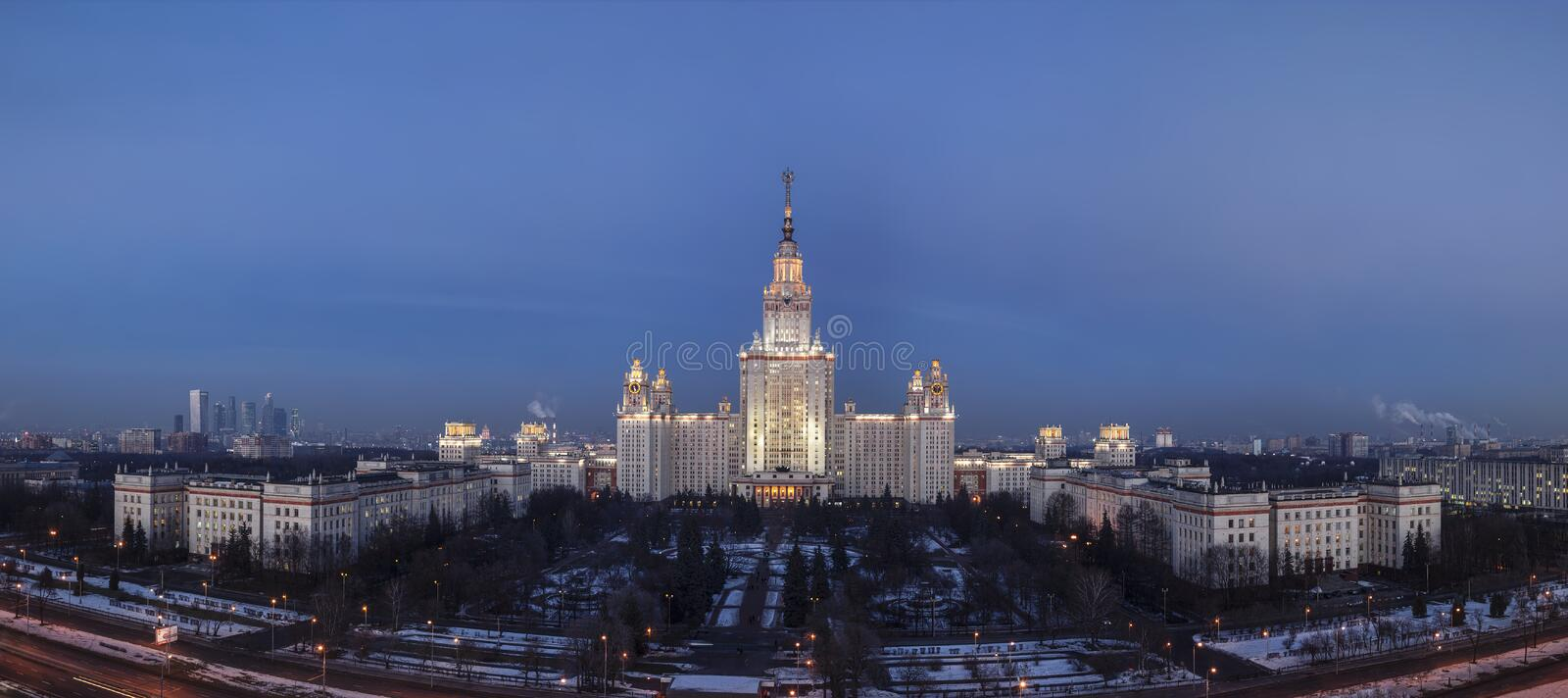 Panoramic top view of the building of Moscow State University in the winter evening. Moscow royalty free stock photography