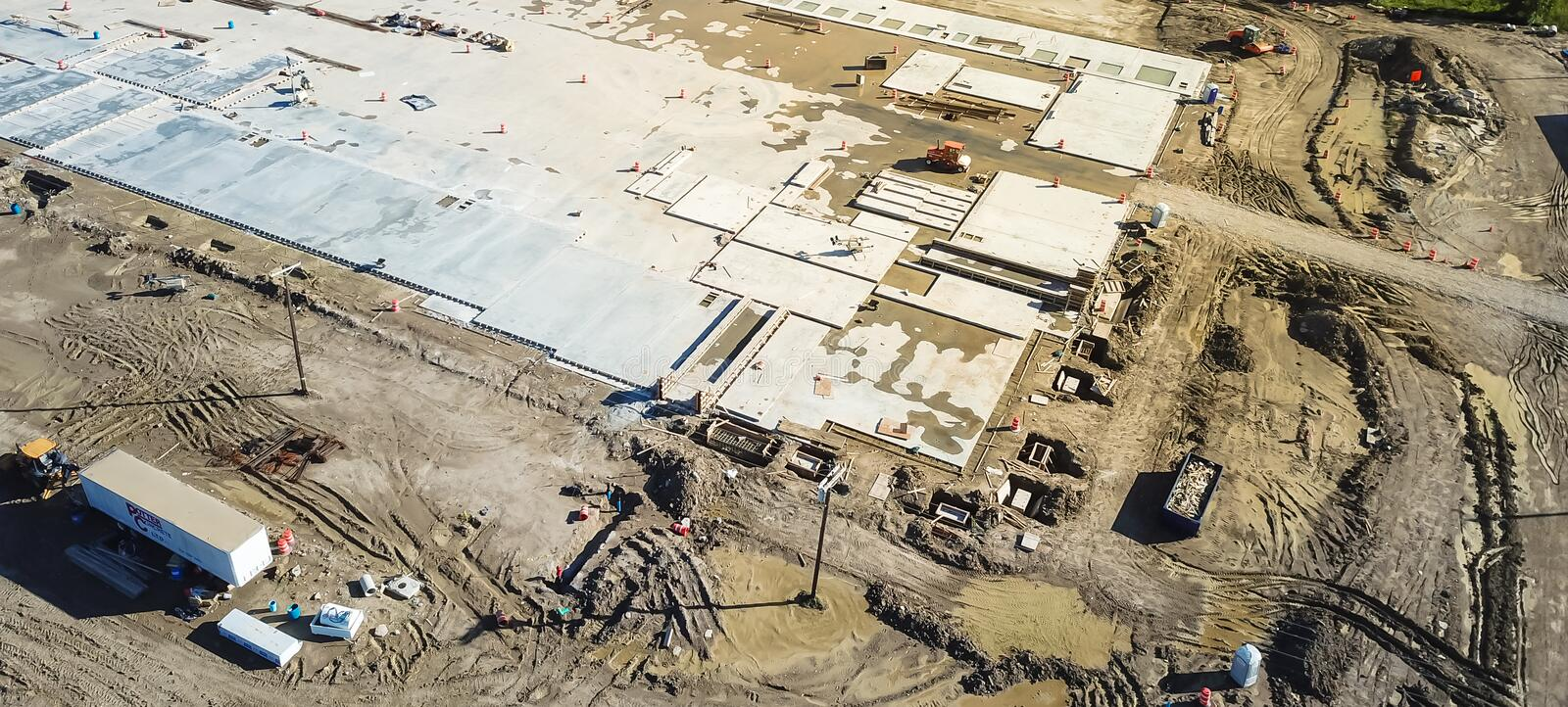 Panoramic top view footing and foundation concrete forming of construction site royalty free stock photography
