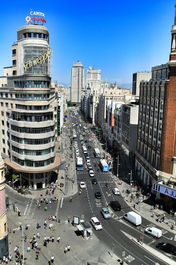 Panoramic top view of Gran Via street in Madrid royalty free stock photography