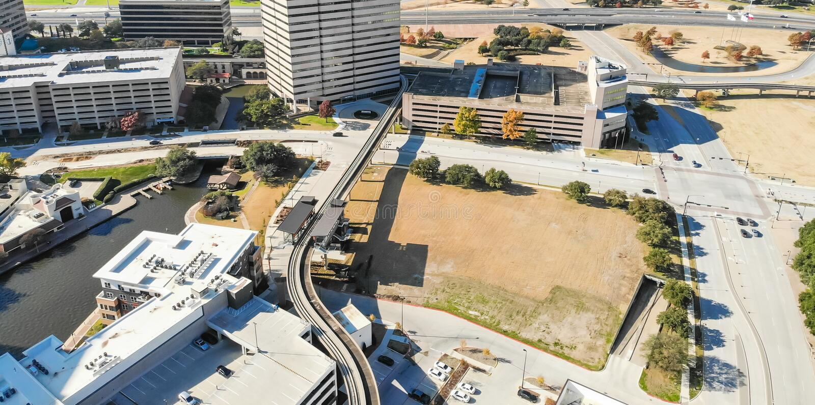 Panoramic top view light rail system and skylines in downtown La royalty free stock photo