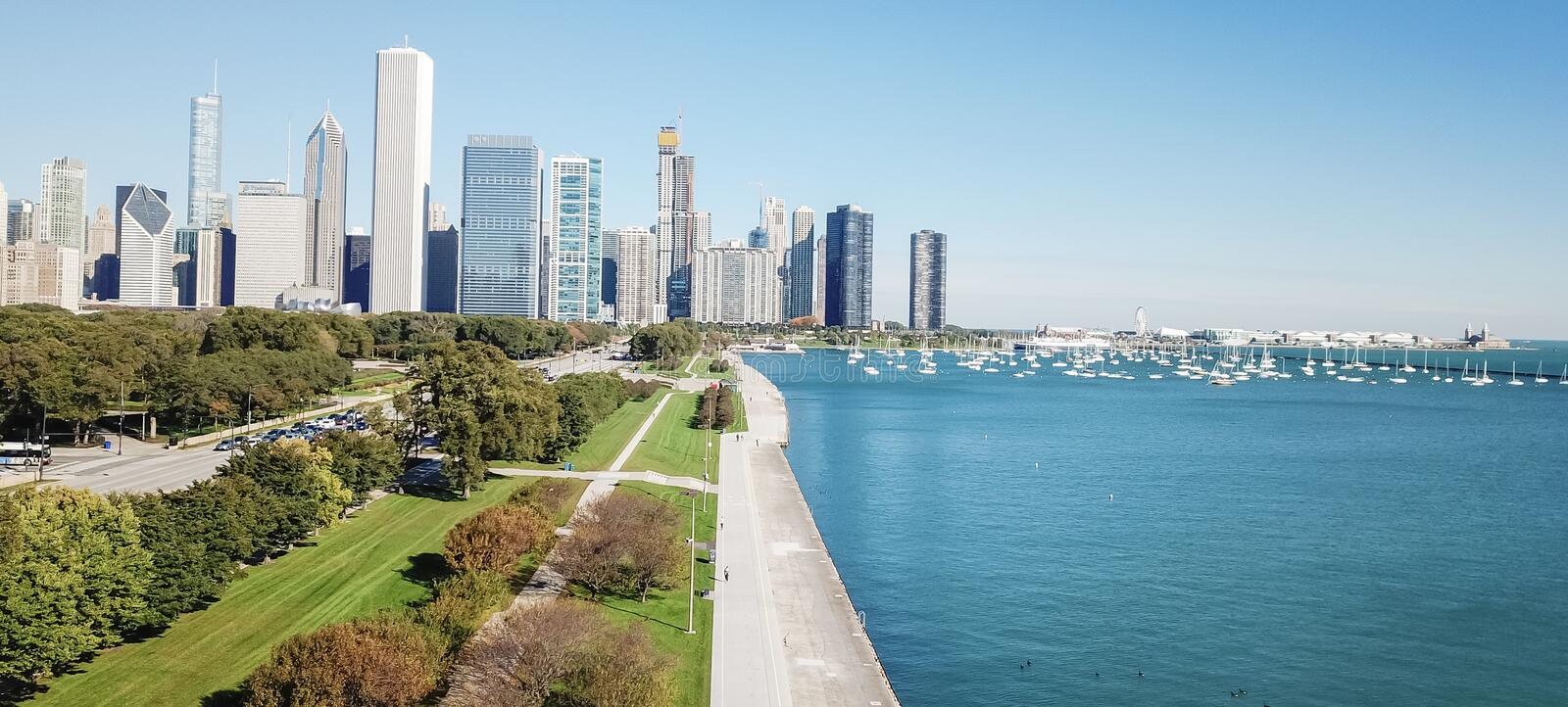 Panoramic top view modern Chicago skylines and Lake Michigan stock photography