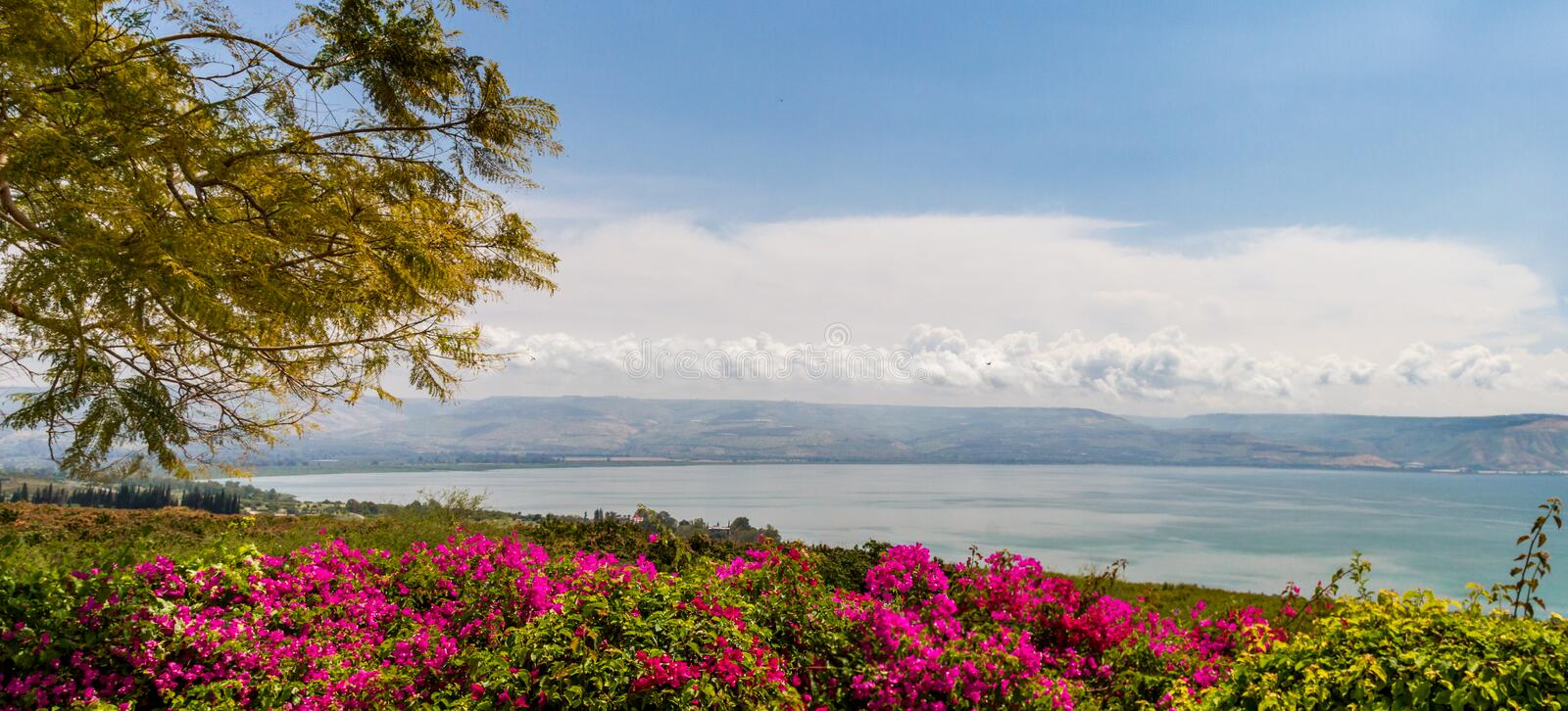 Panoramic top view of the sea of Galilee from the Mount of Beatitudes, Israel stock photo