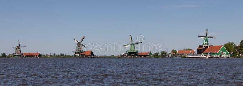 Panoramic of traditional Dutch windmills stock photos