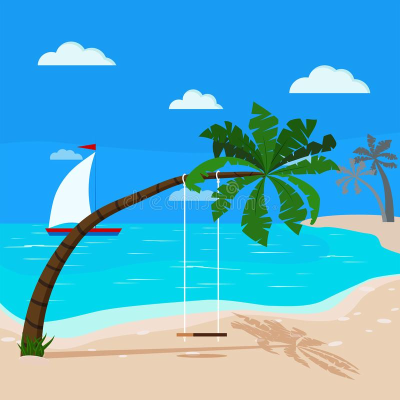 Panoramic tropical seascape with blue ocean and coconut palm, swing on palm tree, sailboat stock illustration