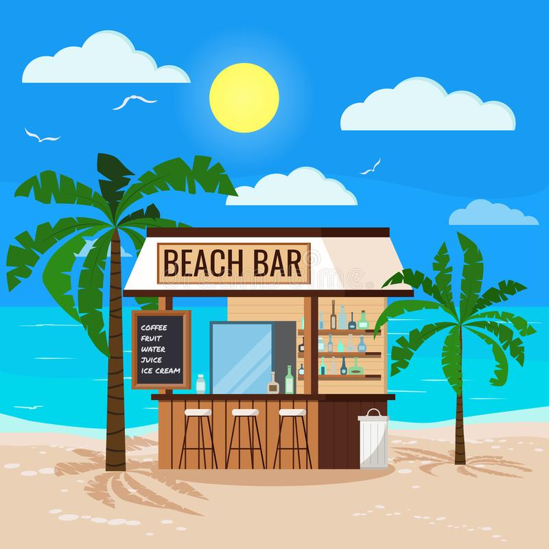 Panoramic tropical seascape with ocean, sun, wooden beach bar, palms tree, chair, trashcan. Summer restaurant with friger selling cold alcohol drinks, water vector illustration