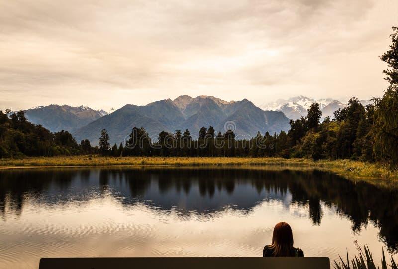 Panoramic twilight view of beautifully romantic Lake Matheson Landscape scenery, South Island, New Zealand royalty free stock photos