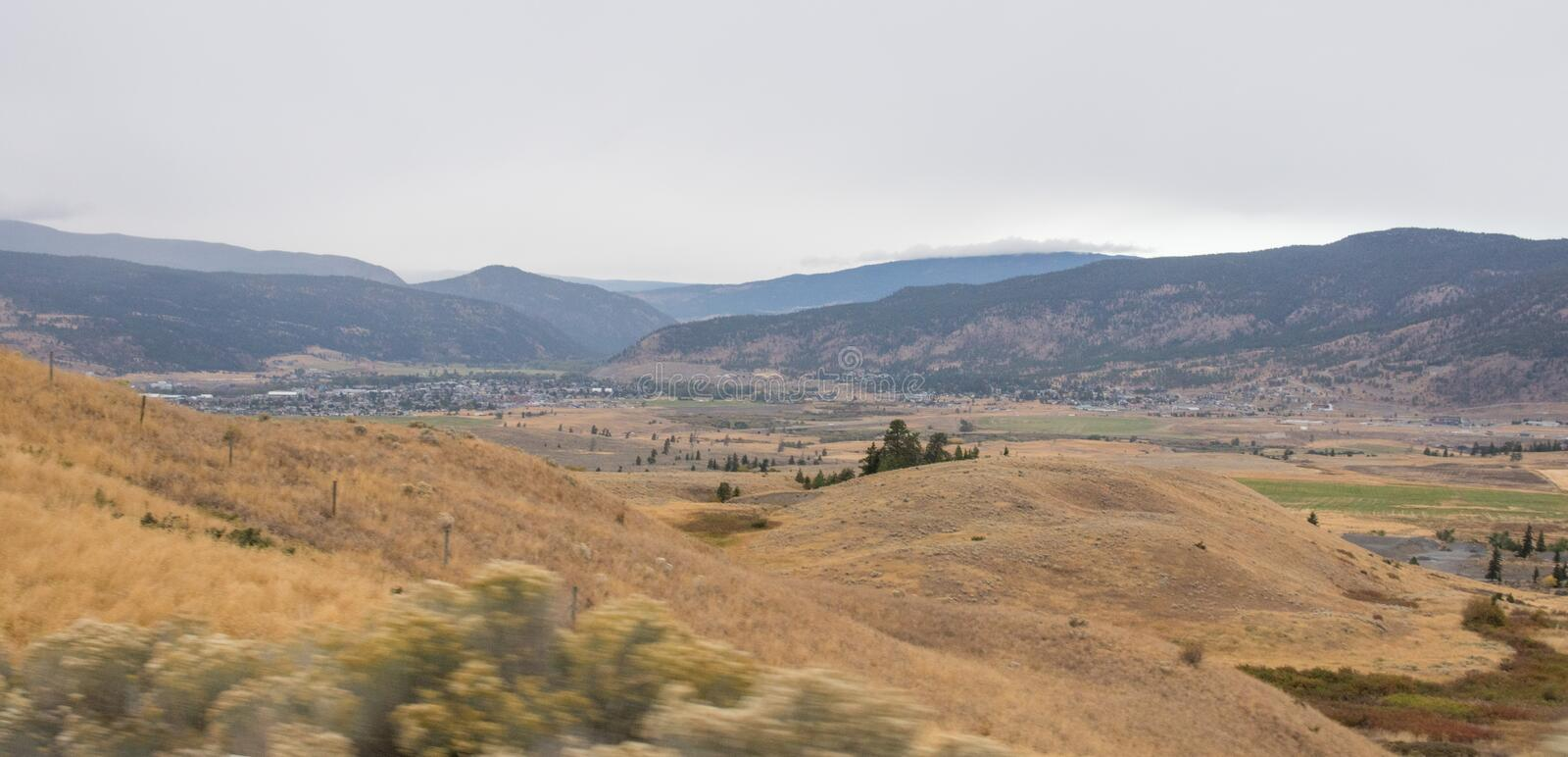 Panoramic valley near kamloops in Canada, road trip in fall royalty free stock photography