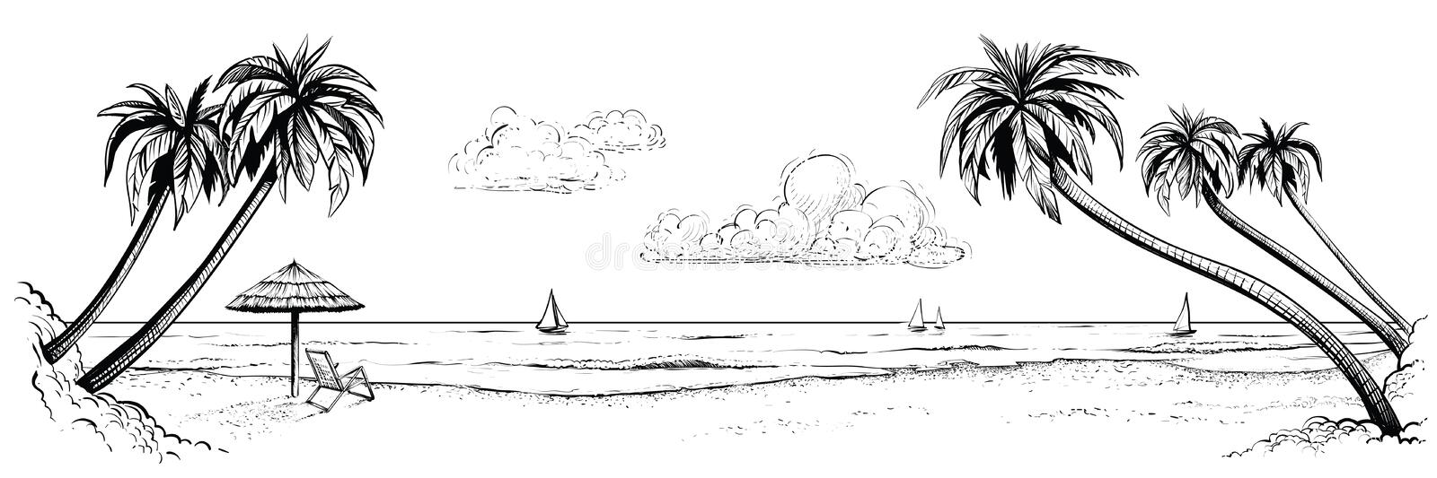Panoramic vector beach view. Illustration with palms and parasol. Black and white handmade drawing. stock illustration