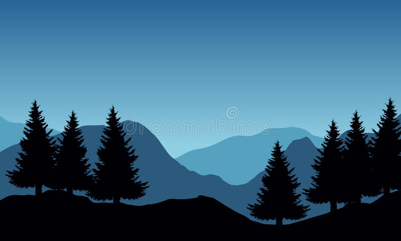 Panoramic vector illustration of mountain landscape with trees. Under blue sky and space for text stock illustration
