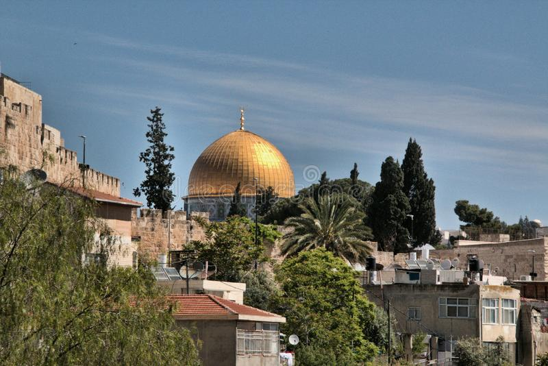 A panoramic veiw of Jerusalem showing the Dome of the Rock stock image