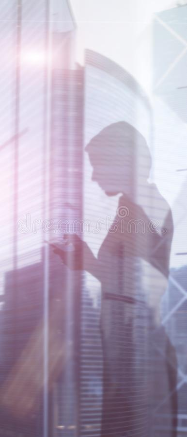 Panoramic vertical mixed media abstract background. Website vertical business header. stock photo