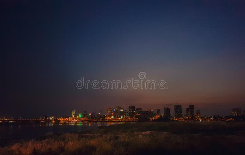 Panoramic view of Abidjan. Landscape, sky royalty free stock photo