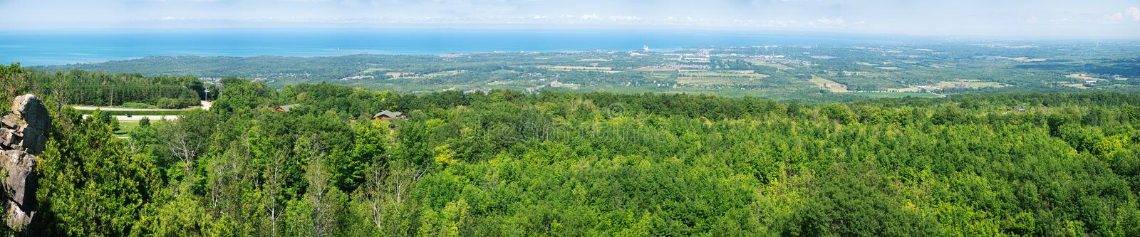 Panoramic view above Blue Mountain Ski Resort in Collingwood, On. Panoramic view in summer landscape above Blue Mountain Ski Resort in Collingwood, Ontario stock photo