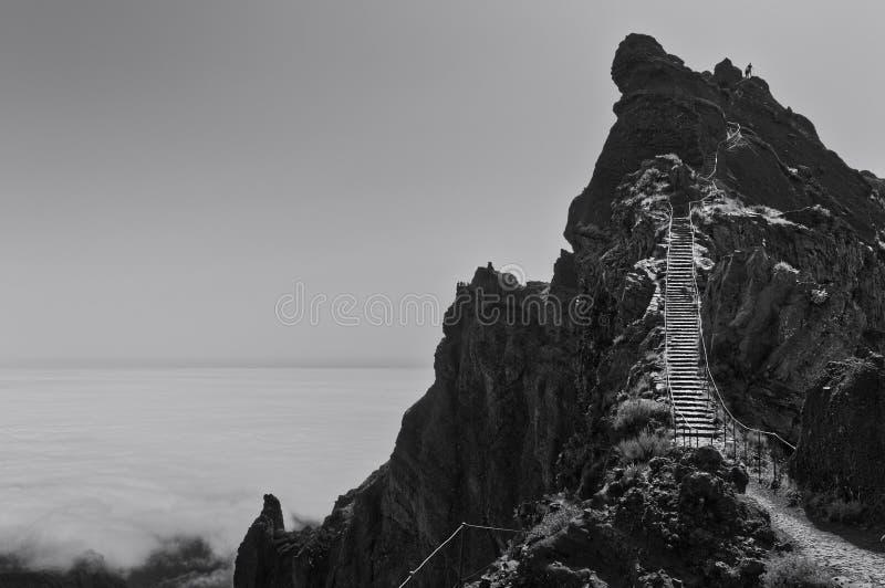 Panoramic view above clouds on `Pico do Arieiro` Sandbox Peak- Stairs to heaven Madeira, Portugal stock image