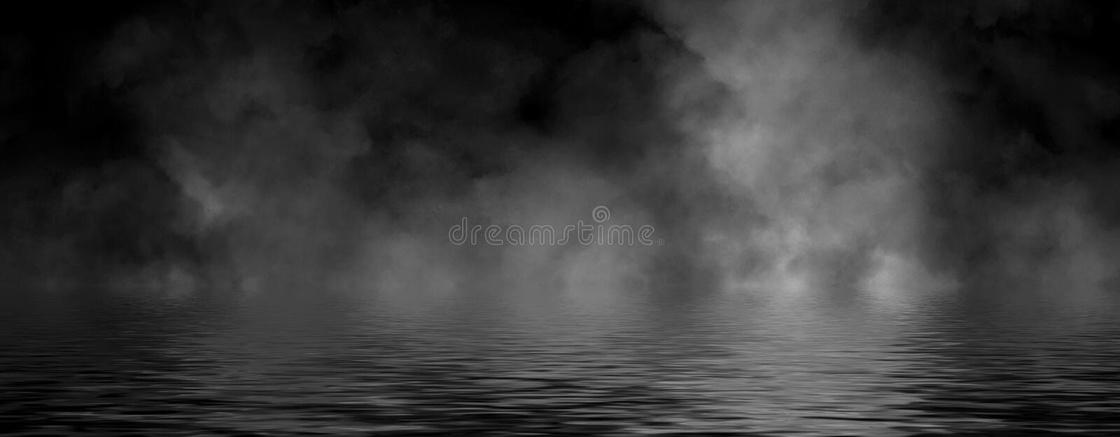 Panoramic view abstract smoke steam moves on black background texture . The concept of aromatherapy. Reflection on water. Stock. Panoramic view abstract smoke stock photography
