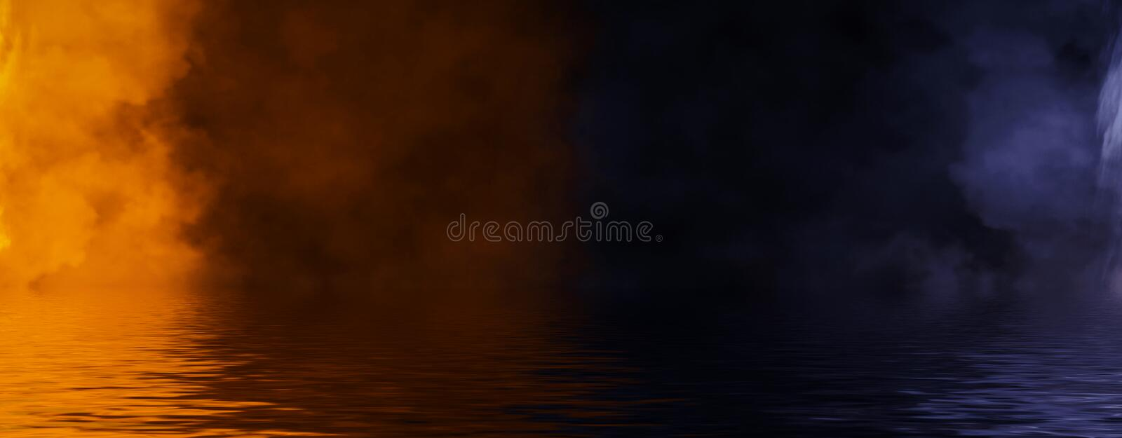 Panoramic view abstract smoke steam moves on black background texture . The concept of aromatherapy. Reflection on water. Stock. Panoramic view abstract smoke stock photos