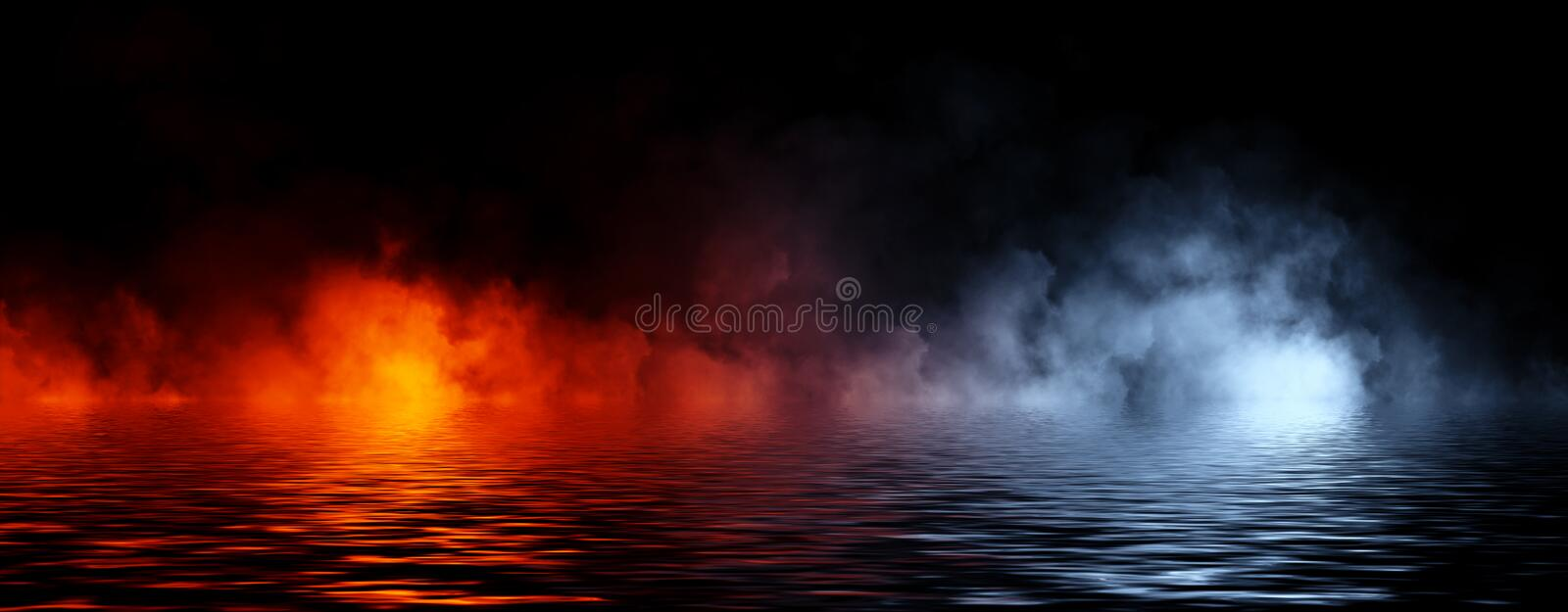 Panoramic view abstract smoke steam moves on black background texture . The concept of aromatherapy. Reflection on water. Stock. Panoramic view abstract smoke royalty free stock image