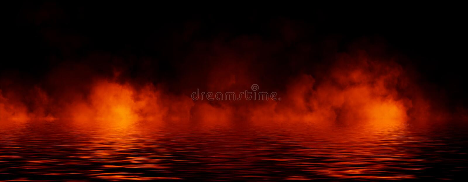 Panoramic view abstract smoke steam moves on black background texture . The concept of aromatherapy. Reflection on water. Stock. Panoramic view abstract smoke royalty free stock photo