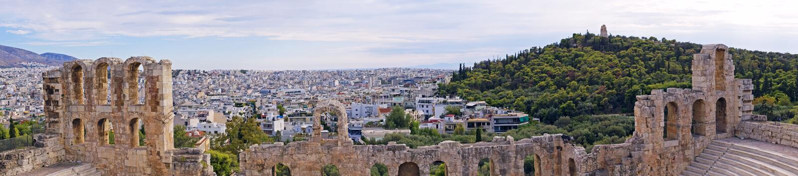 Panoramic view from the Acropolis to the other side of the capital Athens on a hot evening, Greece stock photos