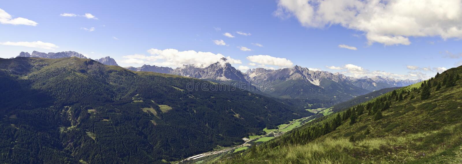 Panoramic view across the Pustertal valley stock photo