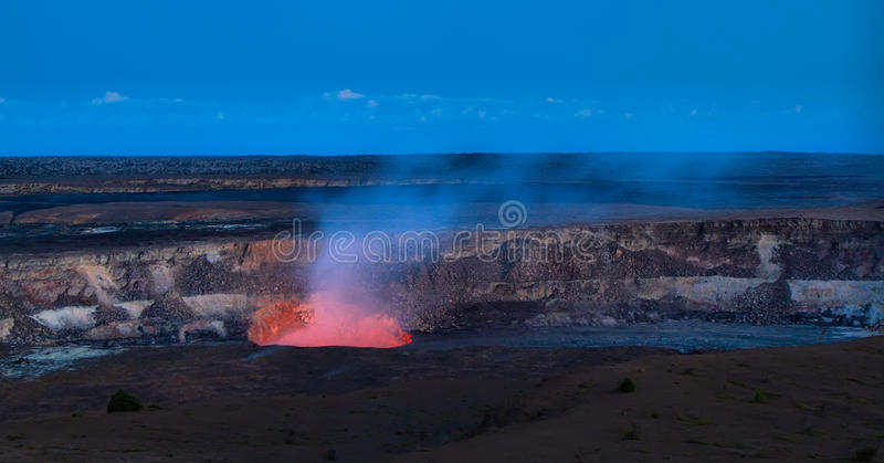 Panoramic view of active Kilauea volcano crater royalty free stock photography