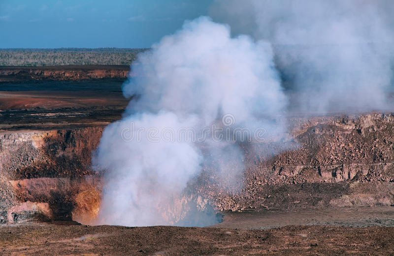 Panoramic view of active Kilauea volcano crater stock image