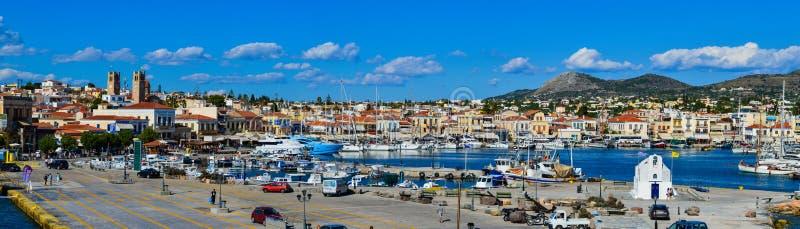 Panoramic view of Aegina port in Aegina island, Greece on June 19, 2017. AEGINA, GREECE - JUNE 19: Panoramic view of Aegina port in Aegina island, Greece on June stock photography