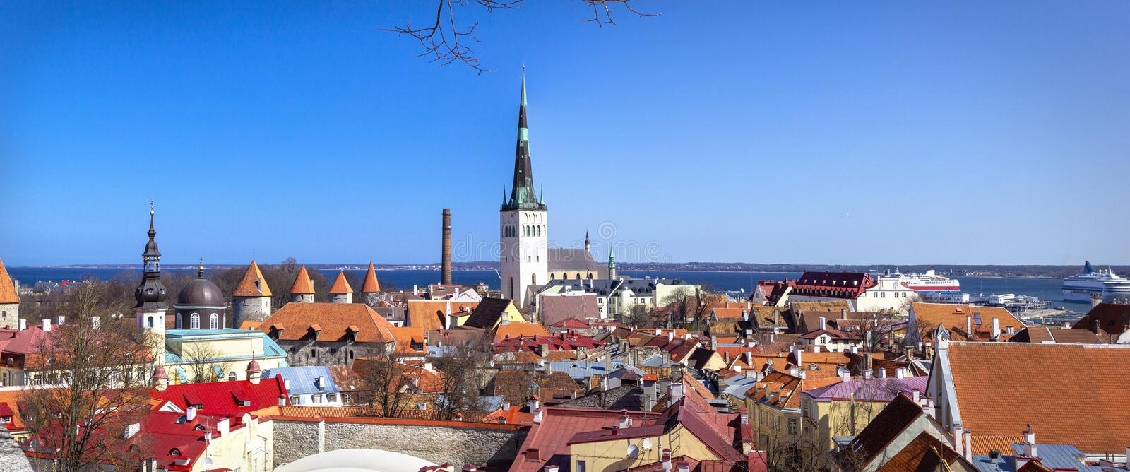 Panoramic view, aerial skyline of Old City Town, Toompea Hill, architecture, roofs of houses and landscape, Tallinn, Estonia. Summer cityscape banner royalty free stock photos