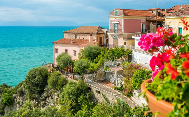 Panoramic view in Agropoli with the sea in the background. Cilento, Campania, southern Italy. Cilento is an Italian geographical region of Campania in the royalty free stock images