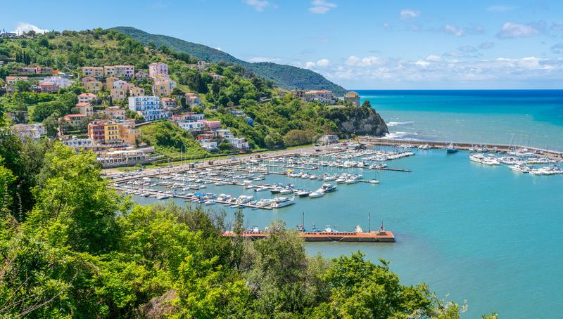 Panoramic view in Agropoli with the sea in the background. Cilento, Campania, southern Italy. Cilento is an Italian geographical region of Campania in the royalty free stock image